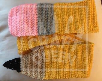Pencil Scarf, Handmade Crocheted