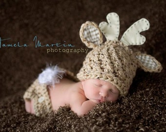Hunting Deer Hat, Baby Boy or Girl, Oh My Deer, Reindeer, Deer Hat and Diaper Cover Set, Photo Prop