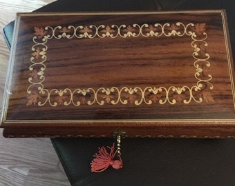 Vintage Reuge inlaid wood musical jewelry box...free shipping !!