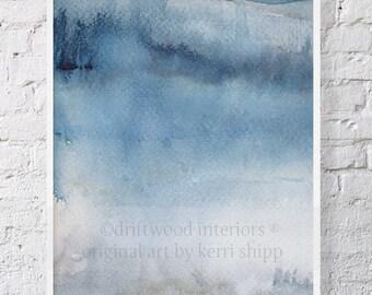 "Blue Gray Abstract Watercolor Print 11"" x 14"" - Abstract Art - Modern Abstract Wall Art - 'Ashen III' Wall Art Print"
