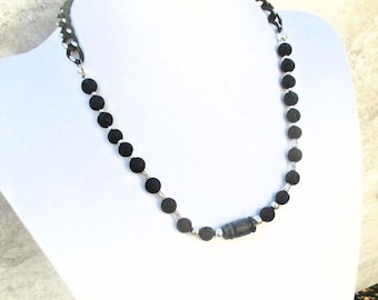 Black Quartz Necklace, Unisex Jewelry, Mens Necklace, Black Jewelry, Stone Necklace for Men, One of a Kind Gift for Him, Gift for Her 20in