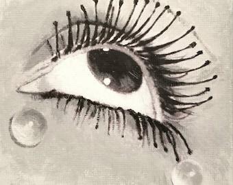 """4x4"""" Mini Painting - Man Ray Eye with Eyelashes - surrealism"""