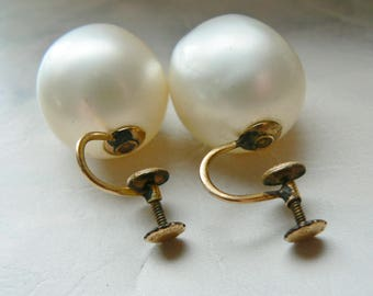 Vintage Large 18mm Faux Pearl Ball Earrings 12K Gold Filled Screw Backs Retro 70's Jewelry