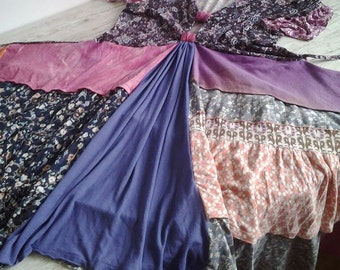 Small Floral Print Purple Boho Dress