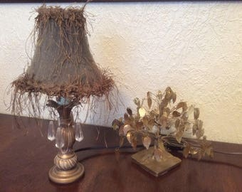 Vintage boudoir small lamp with feather like shade