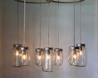 Mason Jar Chandelier, Hanging Mason Jar Lighting Fixture, Rustic BootsNGus Modern Mason Jar Pendant Lighting and Home Decor, Bulbs Included