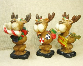 Vintage Christmas Reindeer Figurine, Set of 3, Christmas Decor, Decorations, Studio 33