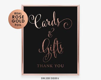 Card Table CARDS & GIFTS Rose Gold Foil Print Wedding Sign Reception Sign Party Sign Gift Table Sign Wedding Calligraphy Wishing Well D35