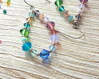 Beaded Hoop Earrings Teardrop Crystal Earrings Boho Colorful Earrings Statement Bold Summer Pastels Gift for Her Long Dangles Swarovski