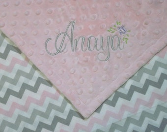 Personalized Lovey Blanket with super SWEET Pink and Gray