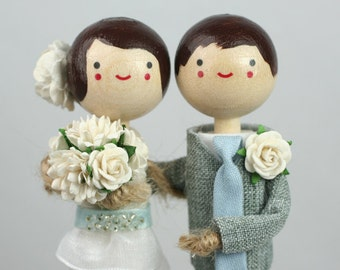 Custom Wedding Cake Topper with 1x CUSTOM CLOTHING