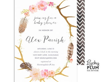 Boho Baby Shower Invitation / Deer Baby Shower Invitation / Antler Baby Shower Invitation / Feather Baby Shower Invitation / Digital