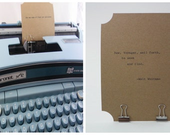 WALT WHITMAN Quote Card-- Made on Vintage Typewriter-- Inspirational Poetry Letterpress Typography