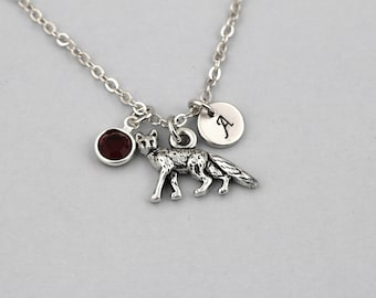 fox necklace, sterling silver filled, initial necklace, OPTIONAL birthstone or pearl, fox jewelry, for the defenders of nature, gift for her
