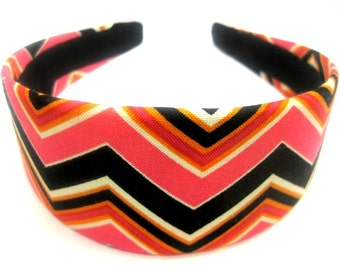 Black Pink Zig Zag Headband 2 Inch