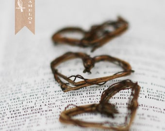 6 Miniature Natural Grapevine Heart  Wreaths Rustic wedding woodland decoration
