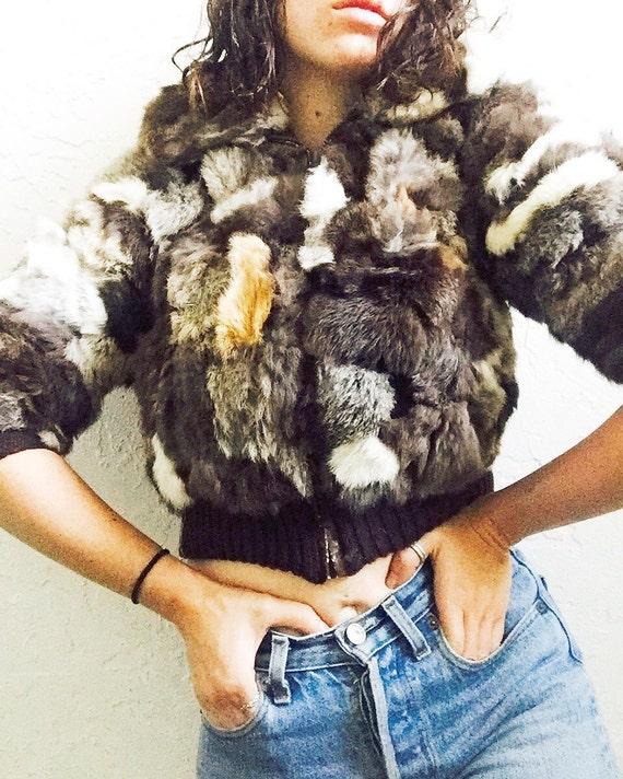 70s Patchwork Fur Cropped Jacket