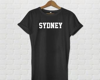 Sydney Varsity Style T-Shirt - Black