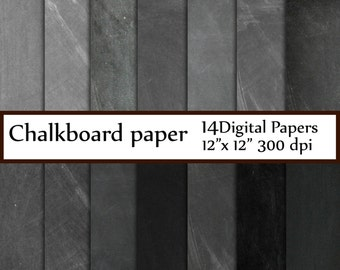 "Chalkboard digital paper: ""CHALKBOARD PAPER"" Chalkboard Background chalkboard textures grunge gray chalkboard schoolboard  invitation party"
