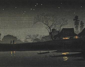 "Japanese Art Print ""Starry Night"" by Takahashi Shotei, woodblock print reproduction, asian art, cultural art, lantern, reflection, stars"