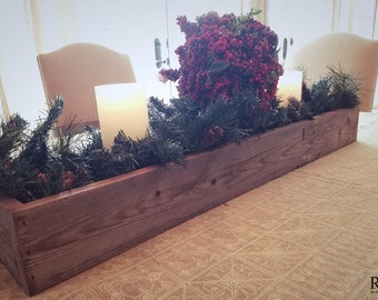 Rustic Christmas Table Centerpiece - 100% Reclaimed Wood