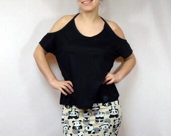 Mini skirt Jersey cream patterned funny Panda