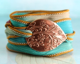Copper Flower Bracelet - Silk Ribbon Wrap | Wrist Wrap Bracelet and Handmade Copper Focal - Ribbon Bracelet | Yoga Jewelry | Silk Cuff
