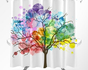 Tree Shower Curtain, Watercolor Shower Curtain, Rainbow Curtain, Nature Shower Curtain, Shower Curtain Art, Modern Shower Curtain