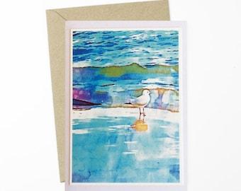 Aqua Greeting Card/Beach Scene Card/Photo Art Card/Seagull Card