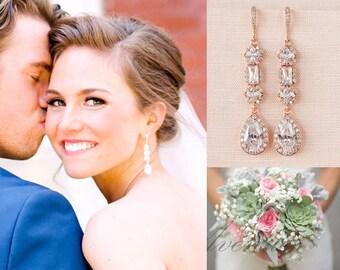 Crystal Bridal Earrings Crystal Wedding earrings Long