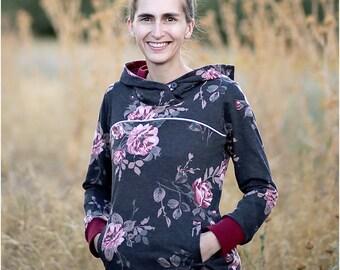Hyak Hoodie PDF Sewing Pattern: Women's Hoodie Pattern / Women's Sweatshirt Pattern / Hoodie Jacket Pattern / Instant Download