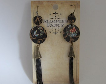 Upcycled Vintage Tin Earrings Original Design Magpies Fancy Chain Tassel