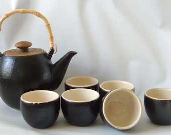 Vintage Japanese Stoneware Tea Set Teapot and 6 bowls Studio Pottery Signed Modernist