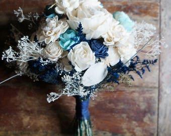 Ocean Song Sola Flower Bouquet // Wood Flower Bouquet, Keepsake Wood Flower Wedding Bouquet, Bridal Bouquet