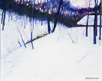 "Original oil painting ""Snowy Hill in Future II"" 24"" x 20"""