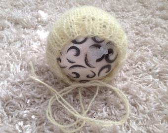 Newborn knit butter yellow mohair bonnet