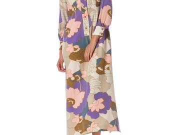 1970s Silk Floral Printed Maxi Shirt Dress