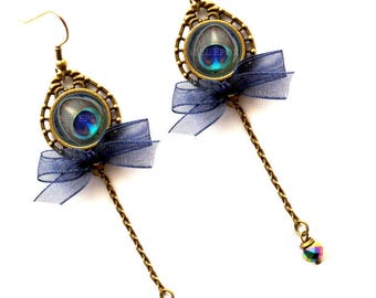 "Earrings ""Feather peacock blue node"" dark blue, turquoise Peacock feather and brass"
