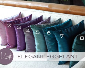 Solid Silk Pillow Cover, Throw Pillows, Silk Cushions, Decorative Throw Pillow, Pillow Case, Couch Bed Sofa Pillows, purple, teal, eggplant