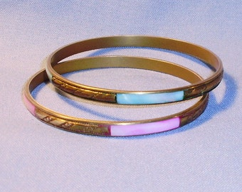 Vintage Brass and MOP Pair Bangle Bracelets