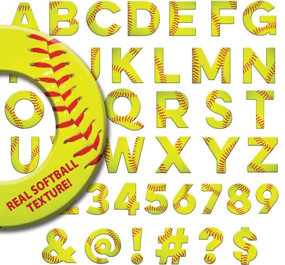 Softball Alphabet Softball Clipart Softball Font Letters