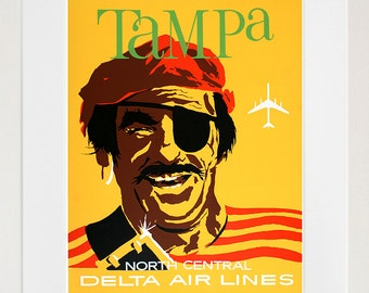 Tampa Florida Art Wall Decor Pirate Retro Travel Poster  (ZT603)