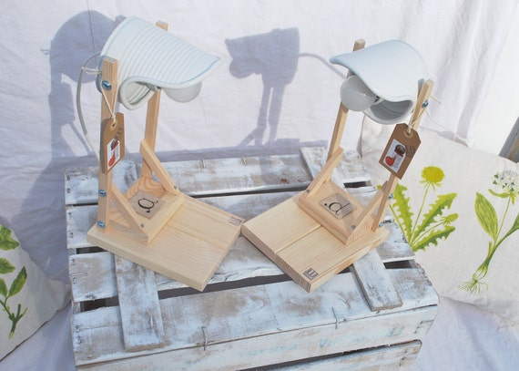 Desk lamp/ side bed lamp, white, eco friendly: recycled from tomato can!Euro - UK, US or Australia plug-Personalizable