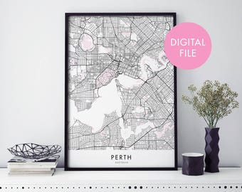 Perth City Map Print Wall Art | Print At Home | Digital Download File