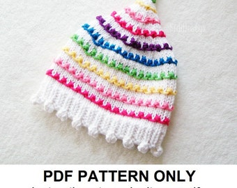 Knitting Pattern - Rainbow Hat Pattern - the JUDY Hat (Newborn, Baby, Toddler, Child & Adult sizes incl'd)