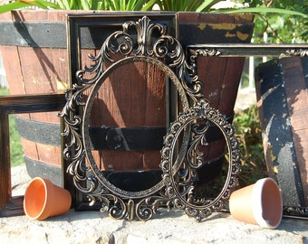 Black Picture Frame Set - Vintage Style Picture Frame Collection - Shabby Chic - Ornate - Gallery Frames