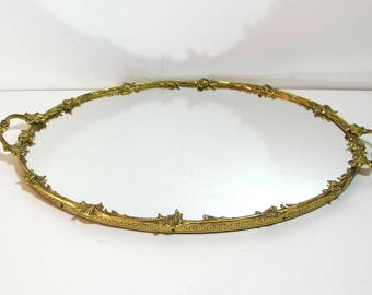 Brass and Mirror Oval Dresser Tray with Roses