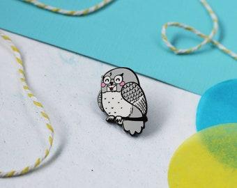 Owl enamel lapel pin | cute hat badge witch wizard magic