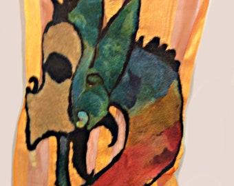 Dragon's Bane upcycled nuno felt silk scarf