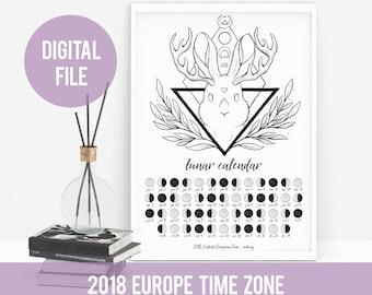2018 PRINTABLE Lunar Calendar / Moon Phases Calendar - Europe